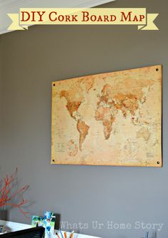 DIY Cork Board Map with cork tiles. Also shows how to make flag pins to pin on places the family has visited. www.whatsurhomestory.com