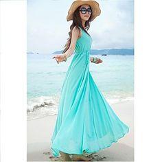 Women's Bohemian Solid Color Swing Long Dress – USD $ 20.29
