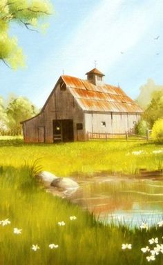 Old Barn in Spring by Kerry Trout Watercolor Barns, Art Watercolor, Country Barns, Old Barns, Landscape Art, Landscape Paintings, Barn Paintings, Barn Art, Pictures To Paint