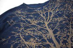 オーガニックコットン7分袖(7分丈)Tシャツ 藍渋染め 樹|麻と柿渋染め・草木染めのみつる工芸