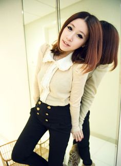 Bubble sleeve lace collar knit shirts