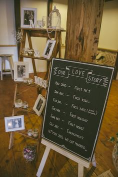 Blackboard Love Story Fun Country Mill Party DIY Wedding http://www.francismeaney.co.uk/
