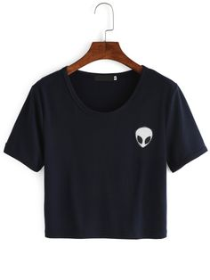T-Shirt court imprimé -marine