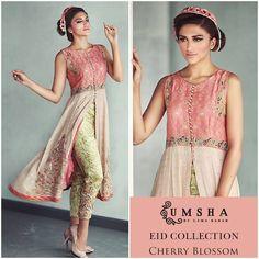 Pakistani Designer Dresses - Lowest Prices - Pure Silk net and Chiffon Shirt embellished with resham by Umsha - Latest Pakistani Fashion