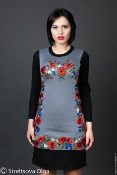 вышитое платье, вышивка, платье с вышивкой, трикотажное платье, трикотаж, теплое платье, весеннее платье, зимнее платье, летнее платье, осеннее платье
