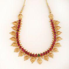 Kaasu Maalai temple jewellery necklace with Pink Gemstones