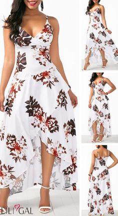 Asymmetric Hem Overlap Flower Print White Dress - Asymmetric Hem Overlap Flower Print White Dress HOT SALES beautiful dresses, pretty dresses, h - Elegant Dresses, Pretty Dresses, Sexy Dresses, Vintage Dresses, Beautiful Dresses, Dress Outfits, Casual Dresses, Fashion Outfits, Summer Dresses