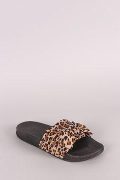 Leopard Bow Open Toe Slide Sandal