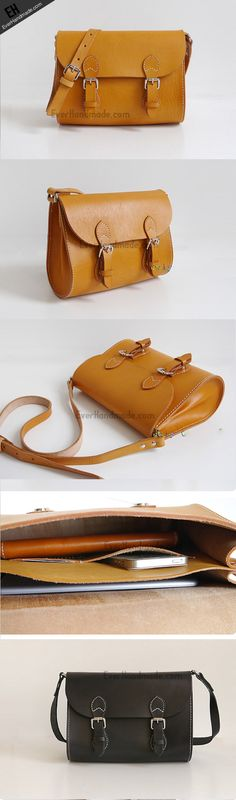 Handmade Leather satchel bag shoulder bag small yellow for women