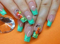 """If you're unfamiliar with nail trends and you hear the words """"coffin nails,"""" what comes to mind? It's not nails with coffins drawn on them. It's long nails with a square tip, and the look has. Simple Nail Art Designs, Nail Designs Spring, Beautiful Nail Designs, Acrylic Nail Shapes, Cute Acrylic Nails, Acrylic Nail Designs, French Nail Art, French Tip Nails, Hot Nails"""