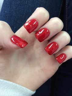 Sparkly red nail design