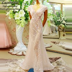 Find More Evening Dresses Information about Elegant Lined Mermaid Lace Beaded Sequins Crystal Evening Dresses 2015 Short Sleeves V Neck Long Birthday Party Prom Gowns XE225,High Quality dresses 60s,China dresses denim Suppliers, Cheap dress macys from LaceBridal on Aliexpress.com