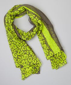Look at this #zulilyfind! Lime Green & Gray Leopard Scarf #zulilyfinds