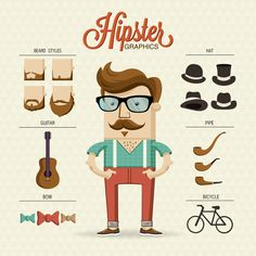 Hipster character illustration with hipster elements by Kovacs Tamas, via Behance #illustrations