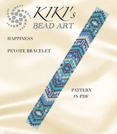 Pattern, peyote bracelet - Happiness peyote bracelet pattern in PDF - two color versions - instant download
