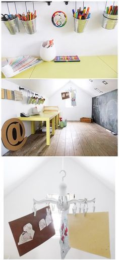 a kid's art room in the attic