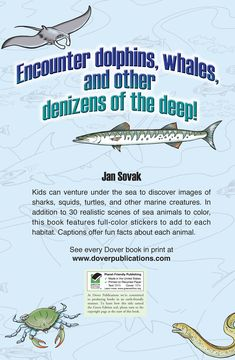 Welcome to Dover Publications Let's Explore! Sea Animals: Sticker Coloring Book