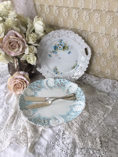 Shabby Pale Blue Cake Stand,Dessert Pedestal, French Blue Floral ...