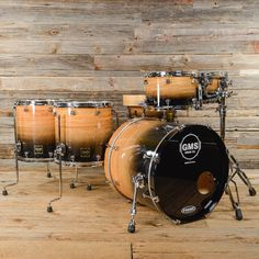 GMS 10/12/14/15/20 5pc Drum Kit Maple/Eucalyptus Natural to Black Fade USED