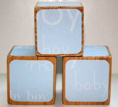 Baby Boy Children's Wooden Blocks  Baby Shower by Booksonblocks, $12.50