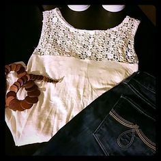 Ivory top Nice top, great with skinny jeans or leggings, back is longer than front, like new. Monteau Tops