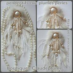 1 acheté = 1 offert !pendentif  cuir plumes & sautoir perles
