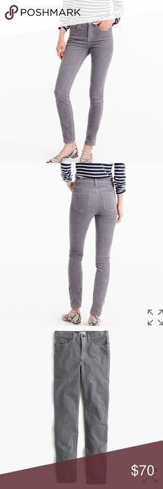"""NWT J. Crew Gray High Rise Cords Color is Raincloud Gray, size 32 regular but they run a tad small due to the super skinny cut. Sits above hip. Fitted through hip and thigh, with a superskinny leg. 29"""" inseam.    PRODUCT DETAILS We made our lookout high-rise silhouette in a soft corduroy fabric (with a hint of stretch), just in time for cooler weather.  Cotton with a hint of stretch. Traditional 5-pocket styling. Machine wash. Import. J. Crew Pants Skinny"""