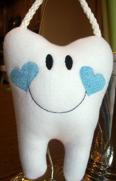 Personalized Tooth Fairy Pillow with hanger for boys, Embroidered and Stuffed Fleece