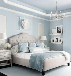 "Benjamin moore brittany blue bedroom via marker girl home. ""mom retreat a relaxing master bedroom in soft blue grey and white color palette. Relaxing Master Bedroom, Blue Master Bedroom, Blue Bedroom Decor, Bedroom Green, Home Bedroom, Light Blue Bedrooms, Bedroom With Blue Walls, Girls Bedroom Blue, Blue And Cream Bedroom"