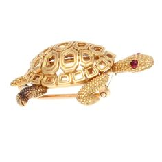 From my Godfather ♞ || Cartier Paris Ruby Gold Turtle Brooch