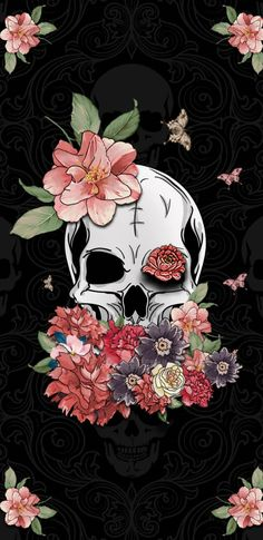 #bonesshelove Skull Wallpaper, Iphone Background Wallpaper, Dark Wallpaper, Aesthetic Iphone Wallpaper, Aesthetic Wallpapers, Phone Backgrounds, Aquarell Tattoo, Skull Artwork, Skeleton Art