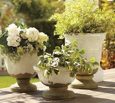 Tuscan Planters #potterybarn, very calming with neutral fresh plants and greenery in them for front or back patio!
