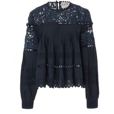 Sea Mara Eyelet Button Blouse (20.500 RUB) ❤ liked on Polyvore featuring tops, blouses, navy, navy lace blouse, lace yoke blouse, lacy tops, navy blue blouse and navy blue lace top