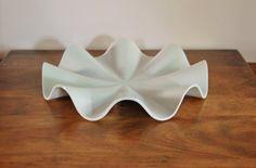 Nambe White Porcelain Ripple Bowl, White Fruit Bowl Centerpiece Art Piece, Wedding Gift, Housewarming, Mod Fruit Bowl