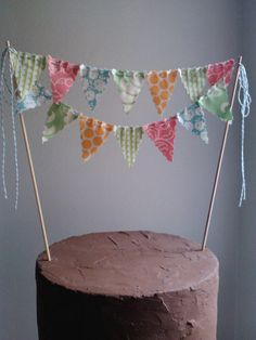 Cake Bunting Lime Orange Aqua Pink Birthday Cake by BooBahBlue. $20.00, via Etsy.