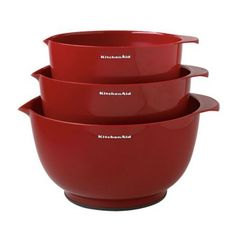 KitchenAid Mixing Bowls, Set of 3 - Mixing bowls work best in sets, right? This set of three red pretties is perfect for mixing up batter, dough, dressings and more.