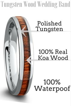 Mens or womens tungsten wood wedding rings. Crafted with 100% real koa wood. I think I will get my future husband this wood wedding band! Its so beautiful.