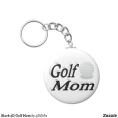 Black 3D Golf Mom Keychain