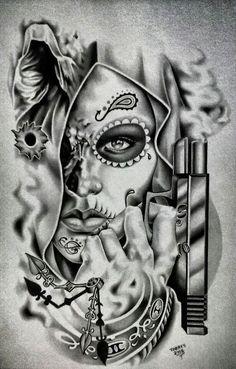 Chicano Arte More Mais Skull Girl Tattoo, Sugar Skull Tattoos, Sugar Skull Art, Girl Skull, Kunst Tattoos, Body Art Tattoos, Girl Tattoos, Sleeve Tattoos, Gangster Tattoos