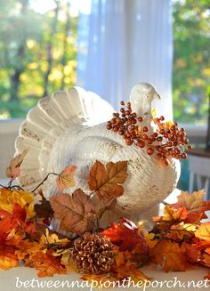 Easy Turkey Centerpiece for Thanksgiving, and Tons of Easy Last Minute Decor tips ! From Between Naps on The Porch