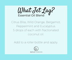 Jet Lag Before you pack that bag and jet away to someplace wonderful for the holidays, I've put together some ideas to help get you through the next few weeks without the brain fog and fatigue caused by JET LAG. Check out my personal plan of attack and these awesome recipes.