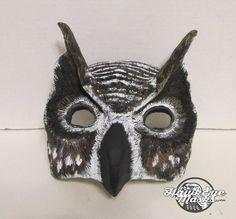 Horned Owl mask, masquerade mask, costume mask, fantasy, forest creature, owl mask, bird, custom made, enchanted woodland by HawkEyeMasks on Etsy