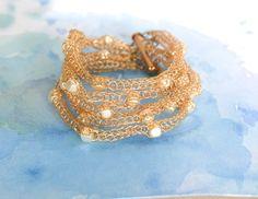 Wire crochet multistrand bracelet with square ivory pearl beads, gold beaded bracelet christmas gift #gift #etsy #bracelet #handmade