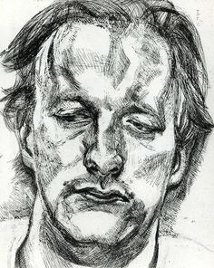 View Head of a Man - By Lucian Freud; etching on BFK Rives wove paper; Access more artwork lots and estimated & realized auction prices on MutualArt. Sketches, Sketch Book, Figure Painting, Art Drawings, Drawings, Lucian Freud, Poster Art, Art, Lucian Freud Portraits