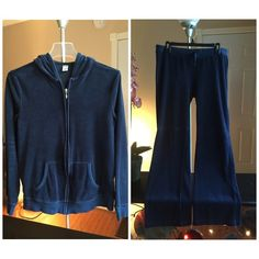 Sweatsuit Dark blue velour sweatsuit. Very soft, very comfy. No rips or stains. In great condition. Both in Medium. Old Navy Pants Track Pants & Joggers