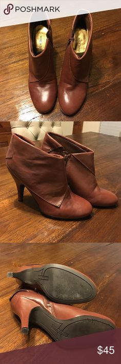 "Nine West chestnut brown booties 7.5 Adorable brown booties with 3"" heel from Nine West. Soft leather and has a folded over effect. Comfortable rubber sole. Worn twice. Smoke free, pet free home, original box not included. Nine West Shoes Ankle Boots & Booties"