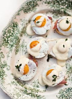 Mini eggs benedict canapes.