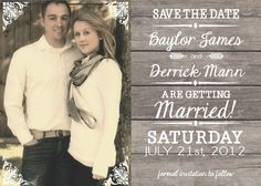 SALE - DIY Printable Wedding Save the Date Only: PDF- Modern Rustic - The Baylor Photo. $15.00, via Etsy.