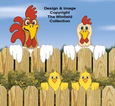 Chicken Fence Peekers Wood Pattern