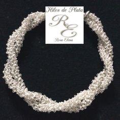 Pulsera en hilo de plata, cordón doble en punto peruano